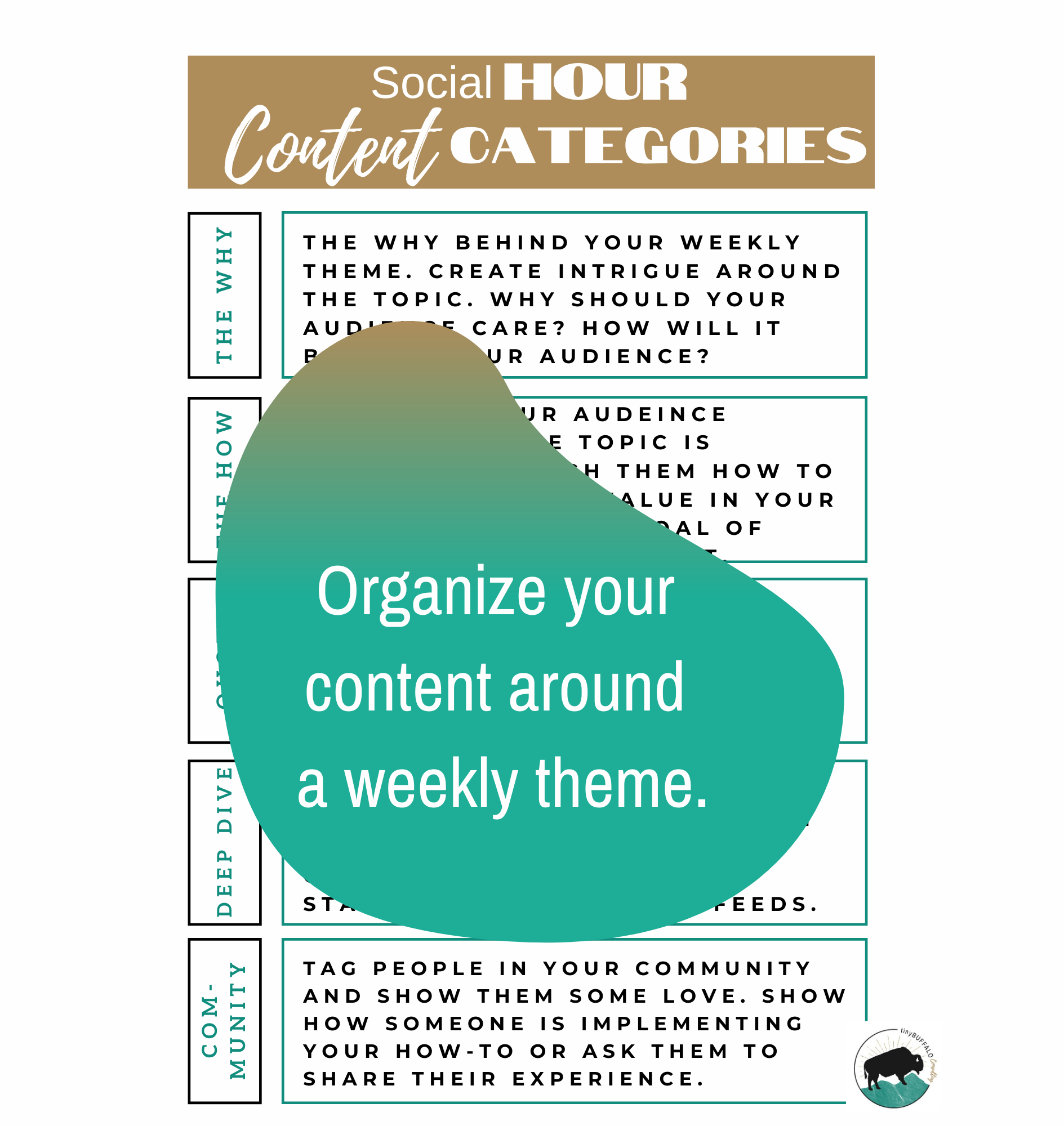organize your social media content around a weekly theme